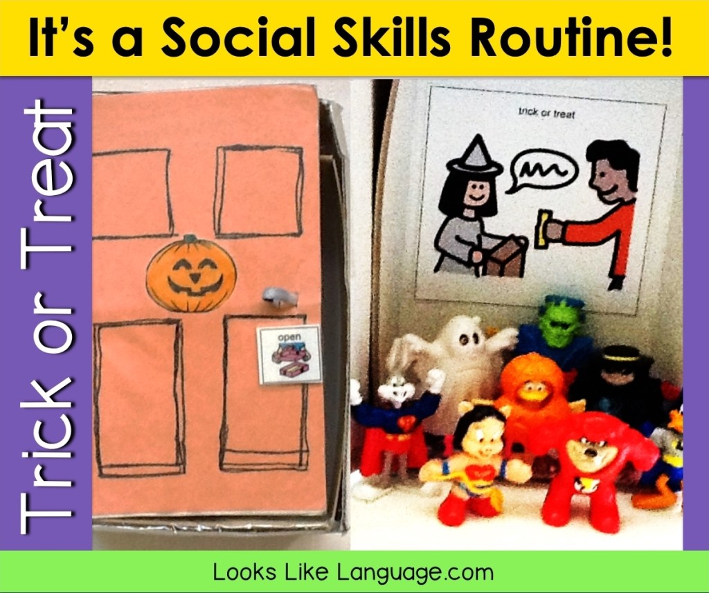 Halloween costume toys and a trick or treat shoebox