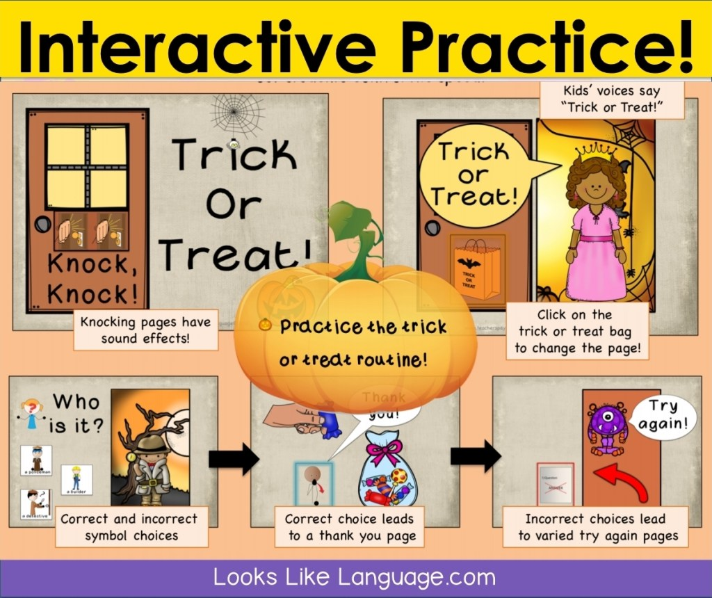 slides from the Trick or Treat powerpoint