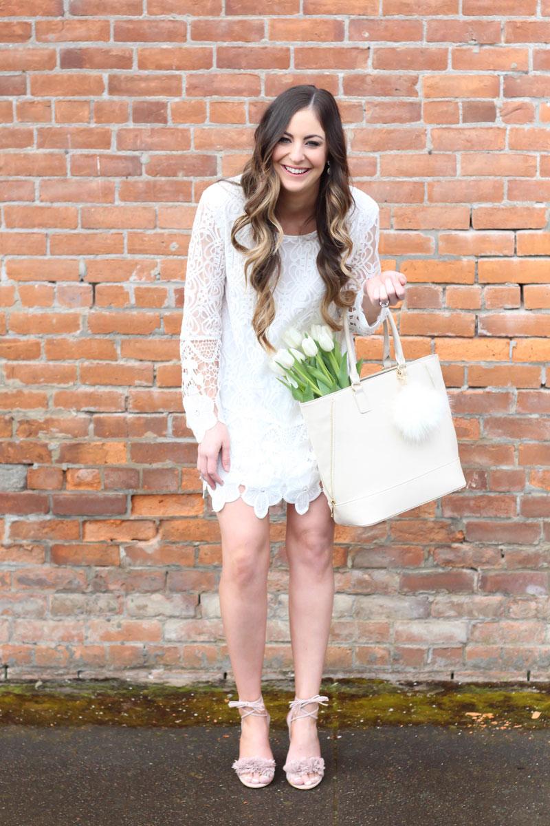 White Long Sleeve Crochet Lace Dress