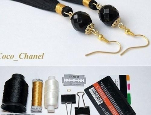 bisuteria accesorios earrings zarcillos como hacer aretes tassel flecos handmade jewelry tutorial negros black