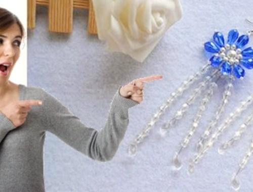 pendientes cristal azul y perlas aretes zarcillos bisuteria paso a paso gratis