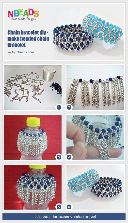 pulsera cadenas cristales azul bisuteria bracelets blue chains DIY