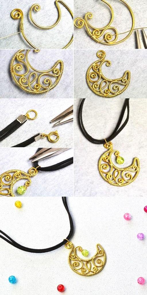 DIY dije pendants luna moon wire bisuteria jewelry tutorials