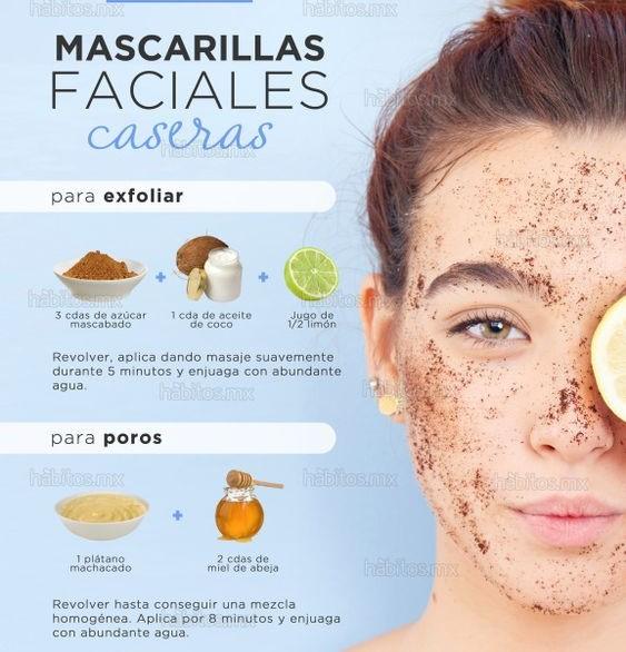 mascarillas faciales caseras poros exfoliar belleza beauty