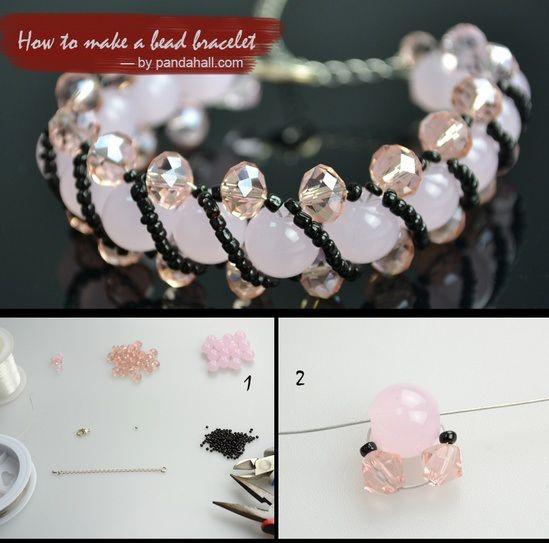 pulseras bracelets bead mostacillas cristales rosado pink como hacer how to make