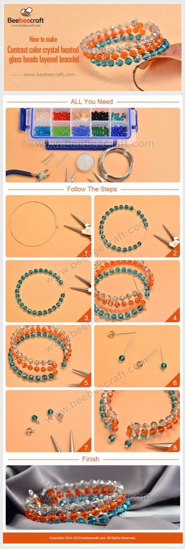 pulseras bracelets beads orange blue crystals cristales alambre memoria