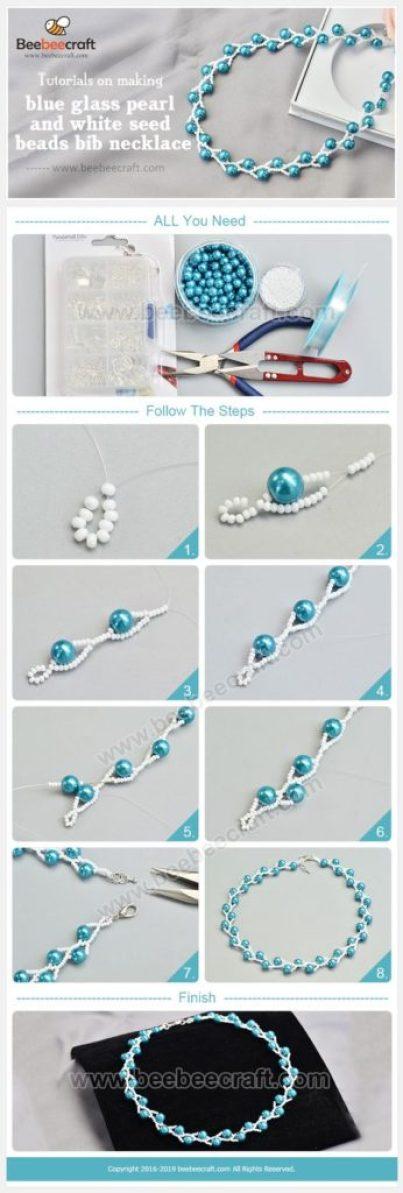 bisuteria jewelry DIY collares mostacillas perlas azul blanco necklaces handmade tutoriale como hacer how to make