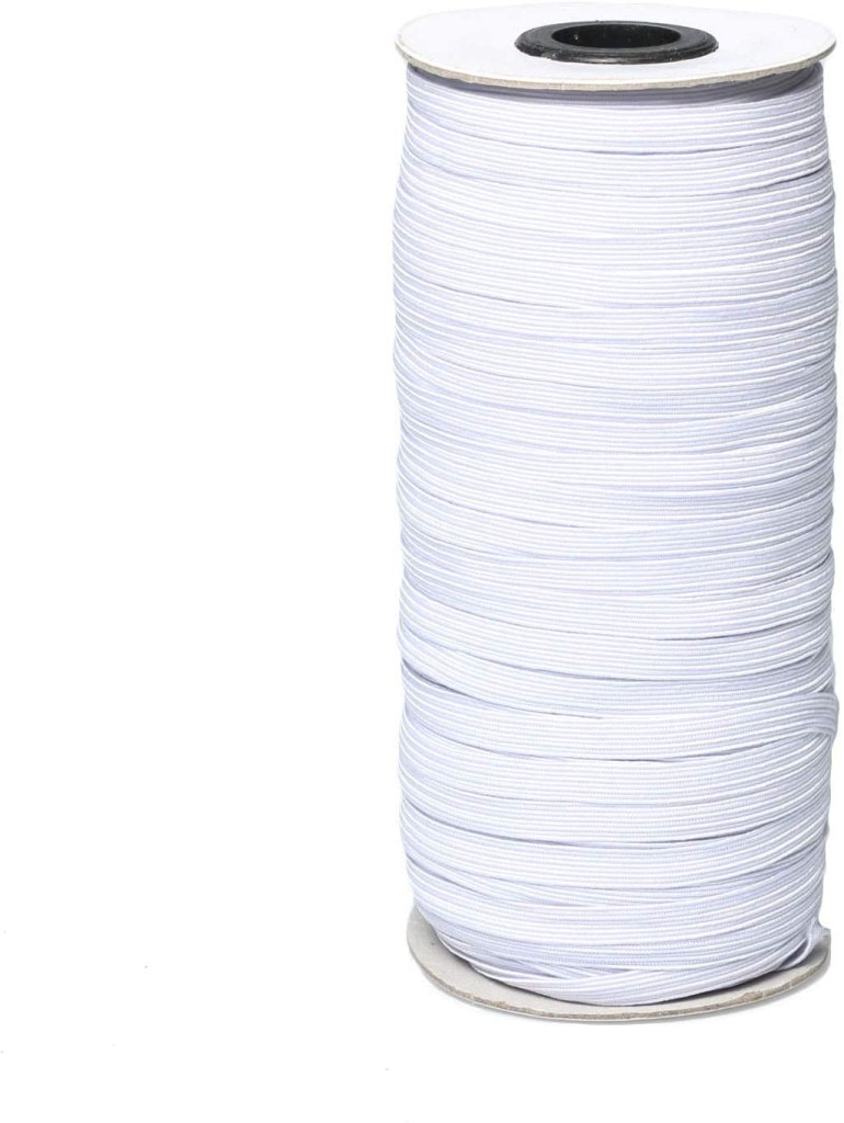 "White 70-Yards Length 1/4"" Width Braided Elastic Cord"