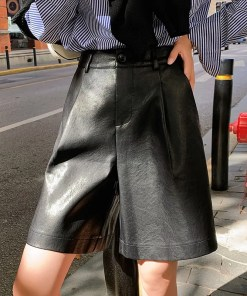Back Buttons Leather Short Women's Fashion View All Women's Clothing Pants