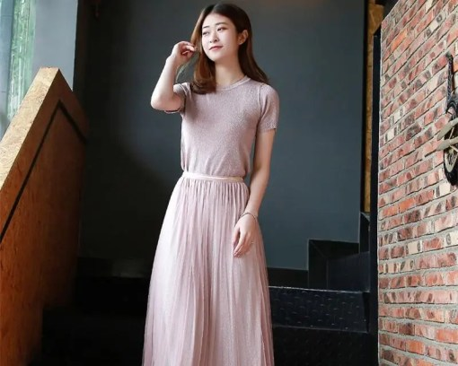 Silver Lurex Knitted Women's Two Piece Sets Dress Women's Fashion View All Women's Clothing Dresses
