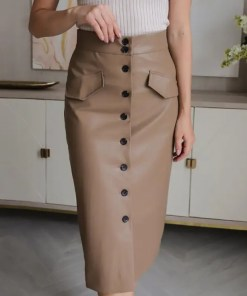 Elegant High Waist Leather Multi Button Pencil Skirt Women's Fashion View All Women's Clothing Skirt