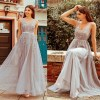Elegant Long V-Neck Tulle Lace Sleeveless A-Line Dress Women's Fashion View All Women's Clothing Dresses