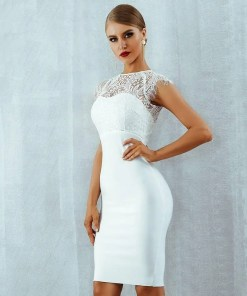 Women White Bandage Short Sleeves Evening Party Dress Women's Fashion View All Women's Clothing Dresses