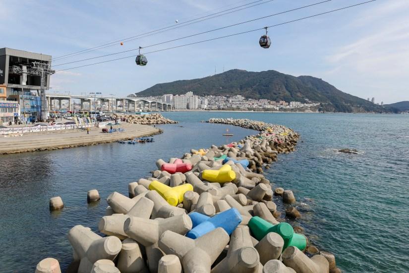 Songdo beach is a man-made beach in Busan, South Korea