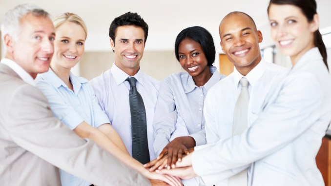 Business people showing unity