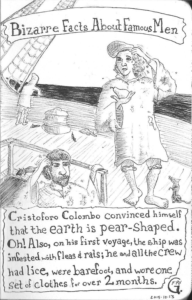 Christopher Columbus scratchin' his head, lookin' at a pear