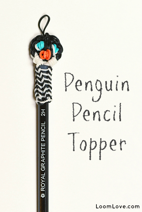 How to Make a Rainbow Loom Penguin Pencil Topper
