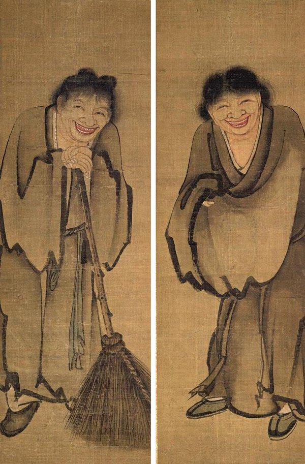 kitchen art hutch buffet 元-因陀羅-寒山拾得图 • 龍裔·大觀龍裔·大觀