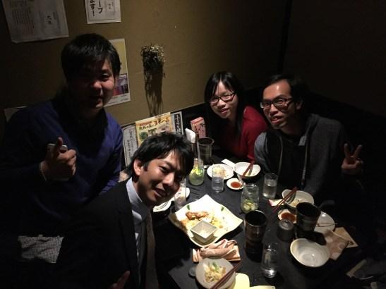 在傳統居酒屋晚飯,左面的兩位就是Rio和Kato