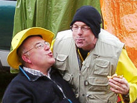 Ron Schiefke and John Simms smoozing at a club fishout to Tunkwa Lake near Merritt, BC