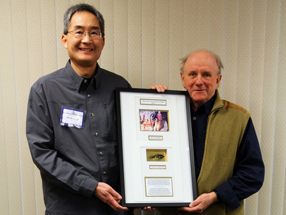 Arthur J. Lingren receiving award from Brian Chan :: The LOONS Flyfishing Club