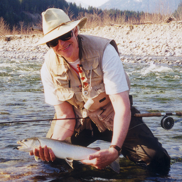 Rob Way with Upper Pitt River bull trout :: The LOONS Flyfishing Club
