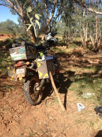 so, my Rajdooth gave up few times to the mercy of harsh ground reality!...realised one crucial bolt was missing!...daama! (the few i did not use Locktight, i knew it). So, prepared a brach of a tree to support the panniers and i did first aid! i was happy with it.