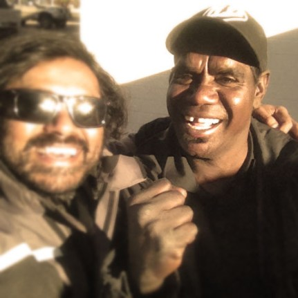 Met him on the way to papunya. He's boxer, aboriginal man from the local tribe.