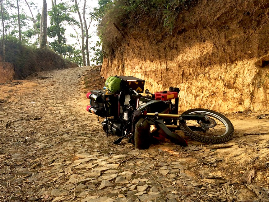 when i was exploring the option to find my way out...lost control and dropped my bike. several time...got up, picked the rajdooth, and got going.