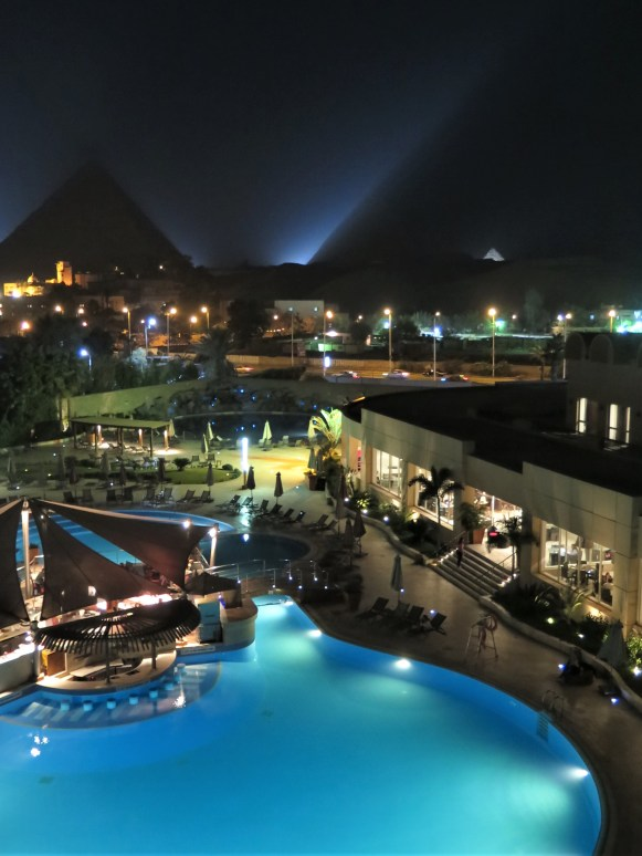 Pool & Pyramids at Night