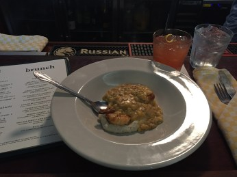 Shrimp & Grits w/ Rhubarb Bourbon Cocktail