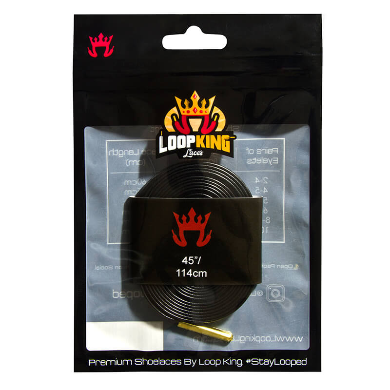 Loop King Laces Packaging for Black Shoe Laces