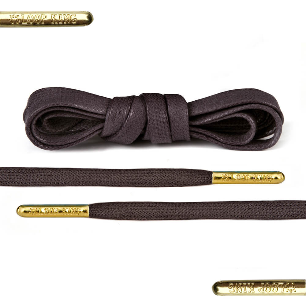 Flat Waxed Brown Shoe Laces With Gold Tips