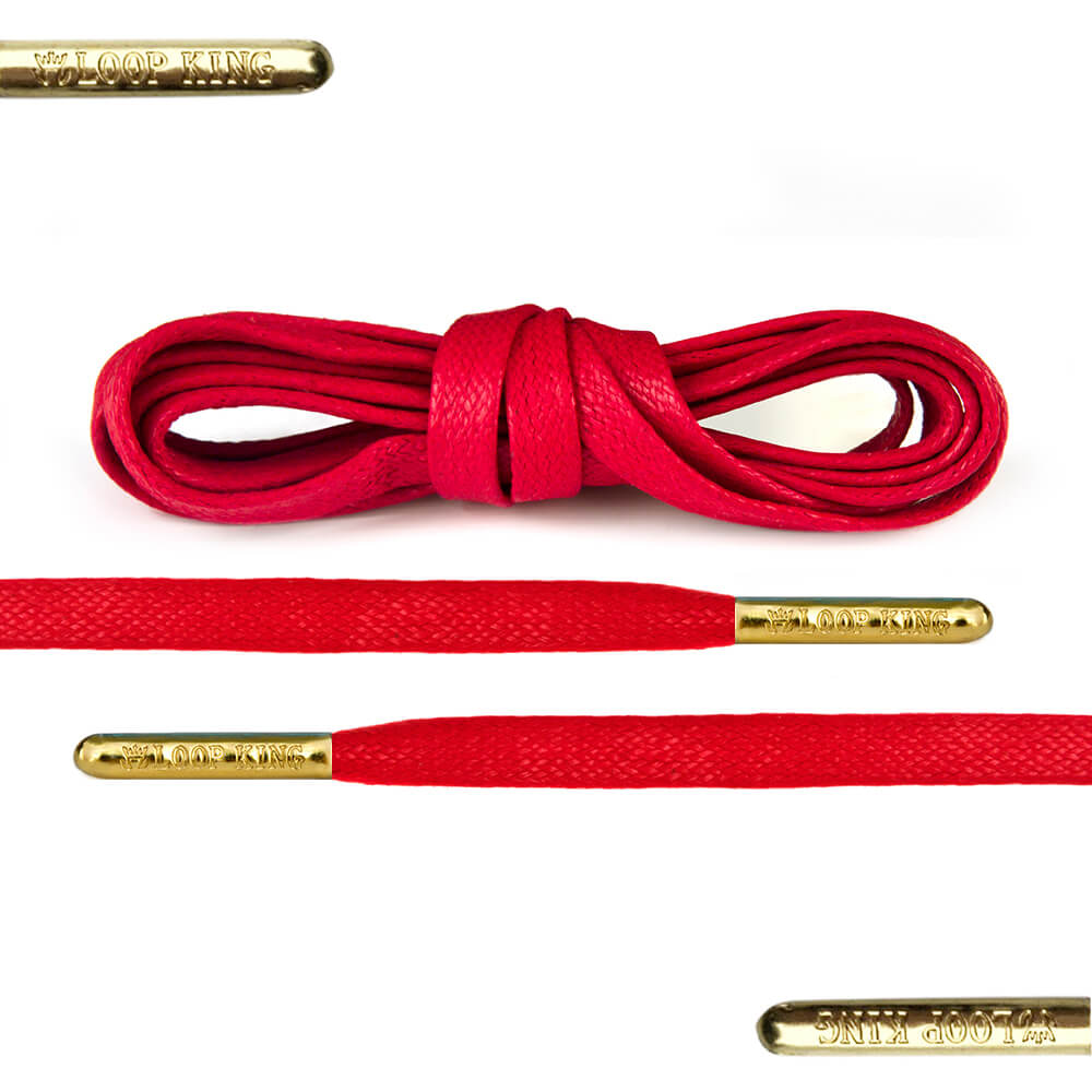 c20b4d4c721fd3 Flat Waxed Red Shoe Laces with Gold Tips - From Loop King