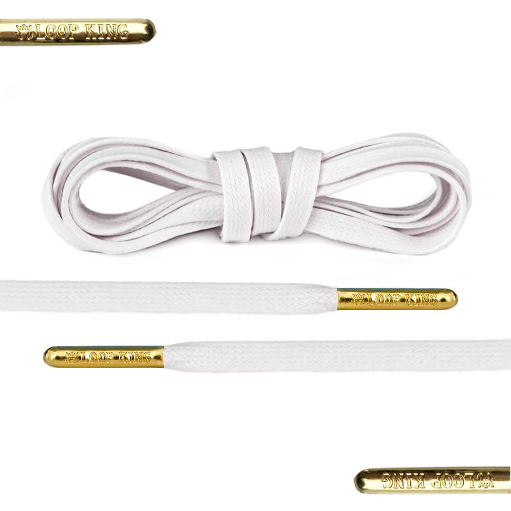 Flat Waxed White Shoe Laces With Gold Tips