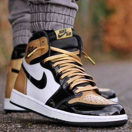 Gold Leather Shoelaces on Jordan Gold Toes