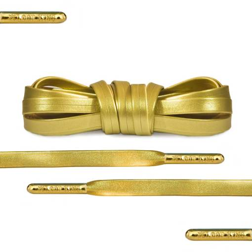 Luxury Gold Leather Shoe Laces With Gold Tips