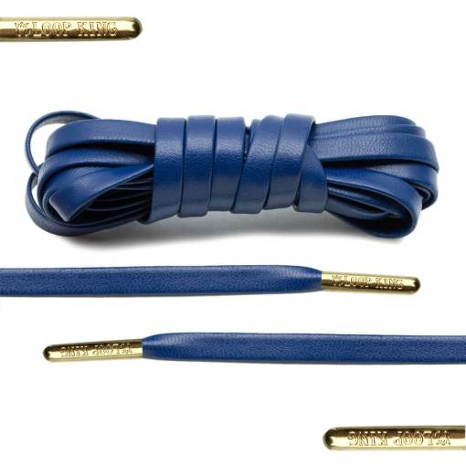 Navy Luxury Leather Shoelaces with Gold Tips