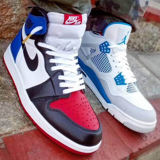 Red Blue White Jordan 1 Flat Waxed White Laces 2