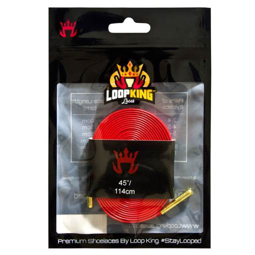 Loop King Laces Packaging for Red Shoe Laces