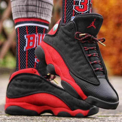 Rope Red Black Laces on Jordan 11 4