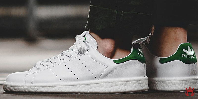 white leather adidas stan smith shoes