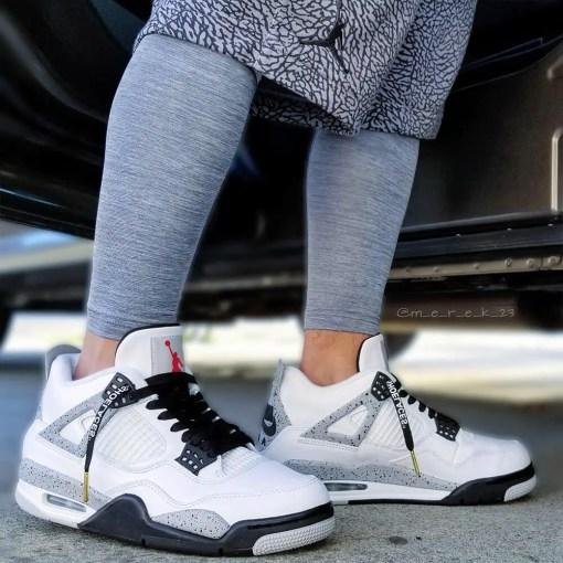 black off white shoelaces in jordan cements 2