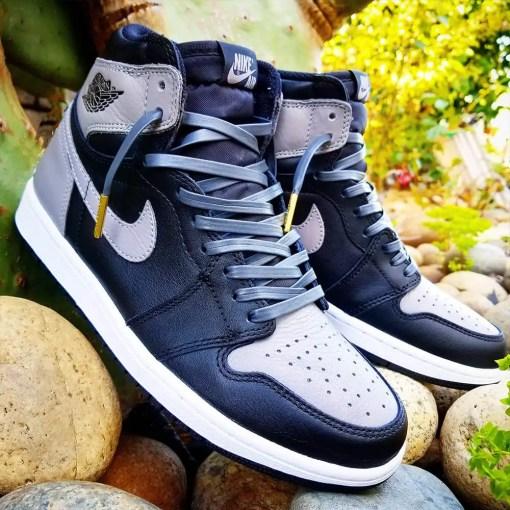 dark grey leather shoelaces in jordan shadows