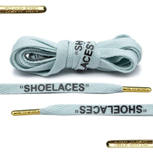 light blue off-white shoelaces with gold tips