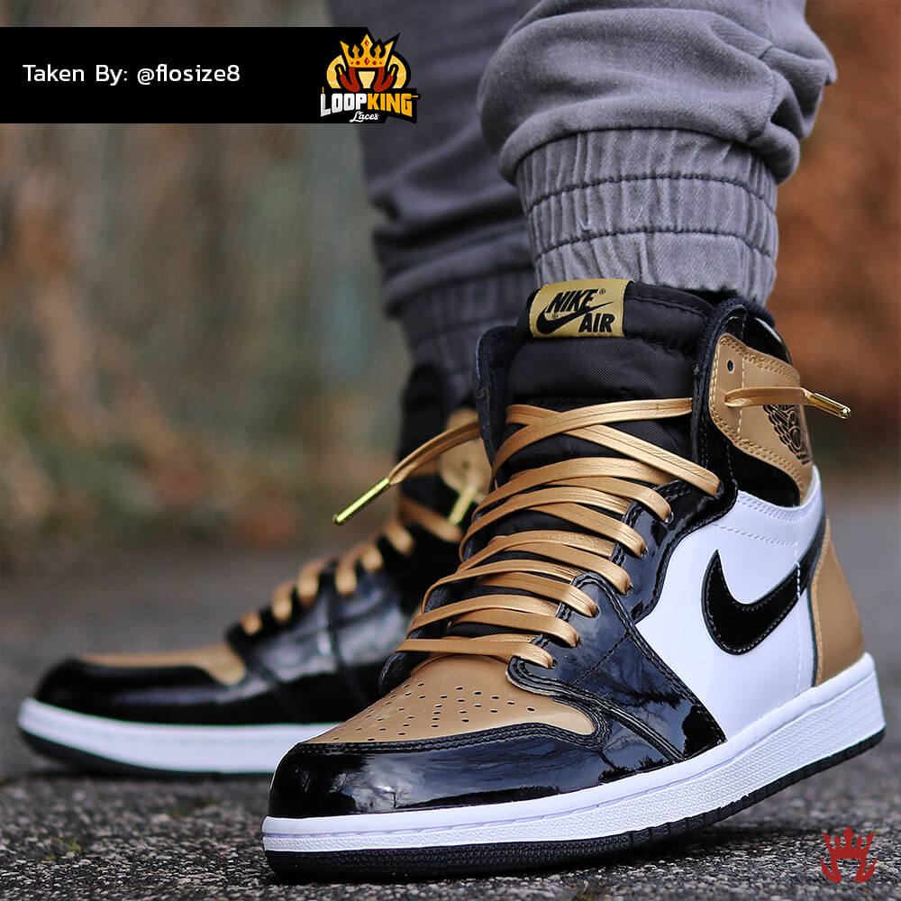Loop King Laces Gold Leather Shoelaces on Gold Toe Jordans 5