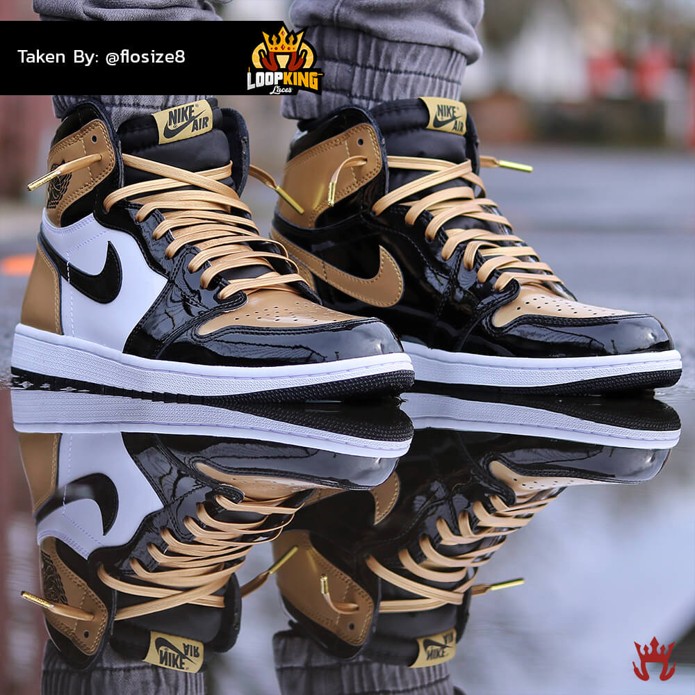 Loop King Laces Gold Leather Shoelaces on Gold Toe Jordans 7