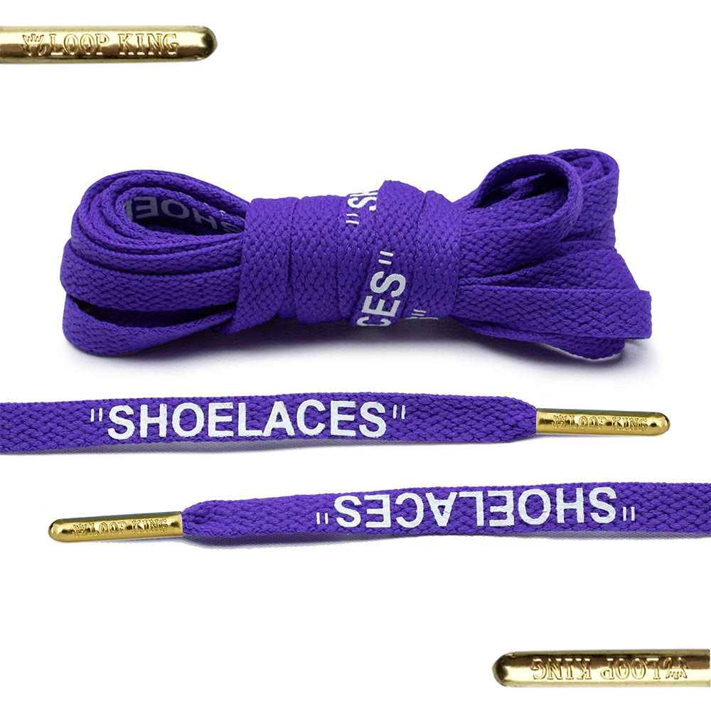 purple off-white shoelaces with gold tips
