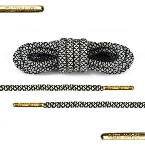 rope black white shoe laces with gold tips