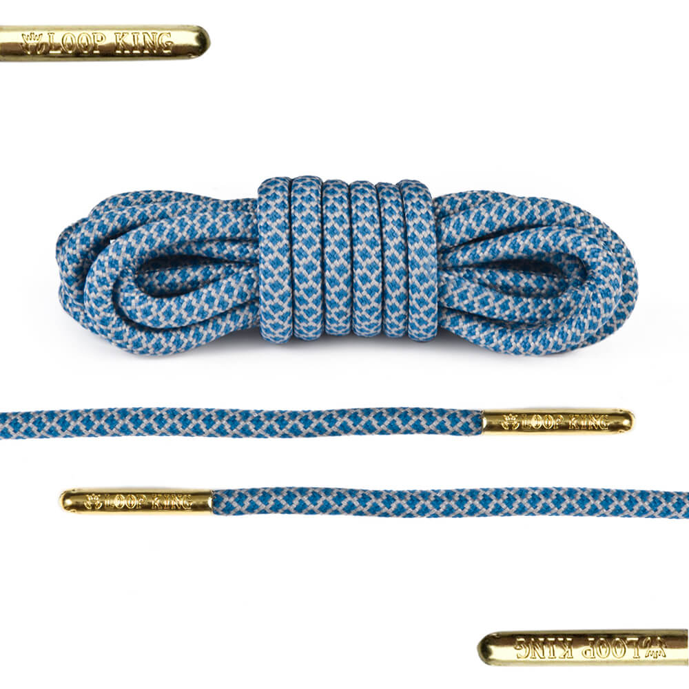 rope blue grey shoe laces with gold tips